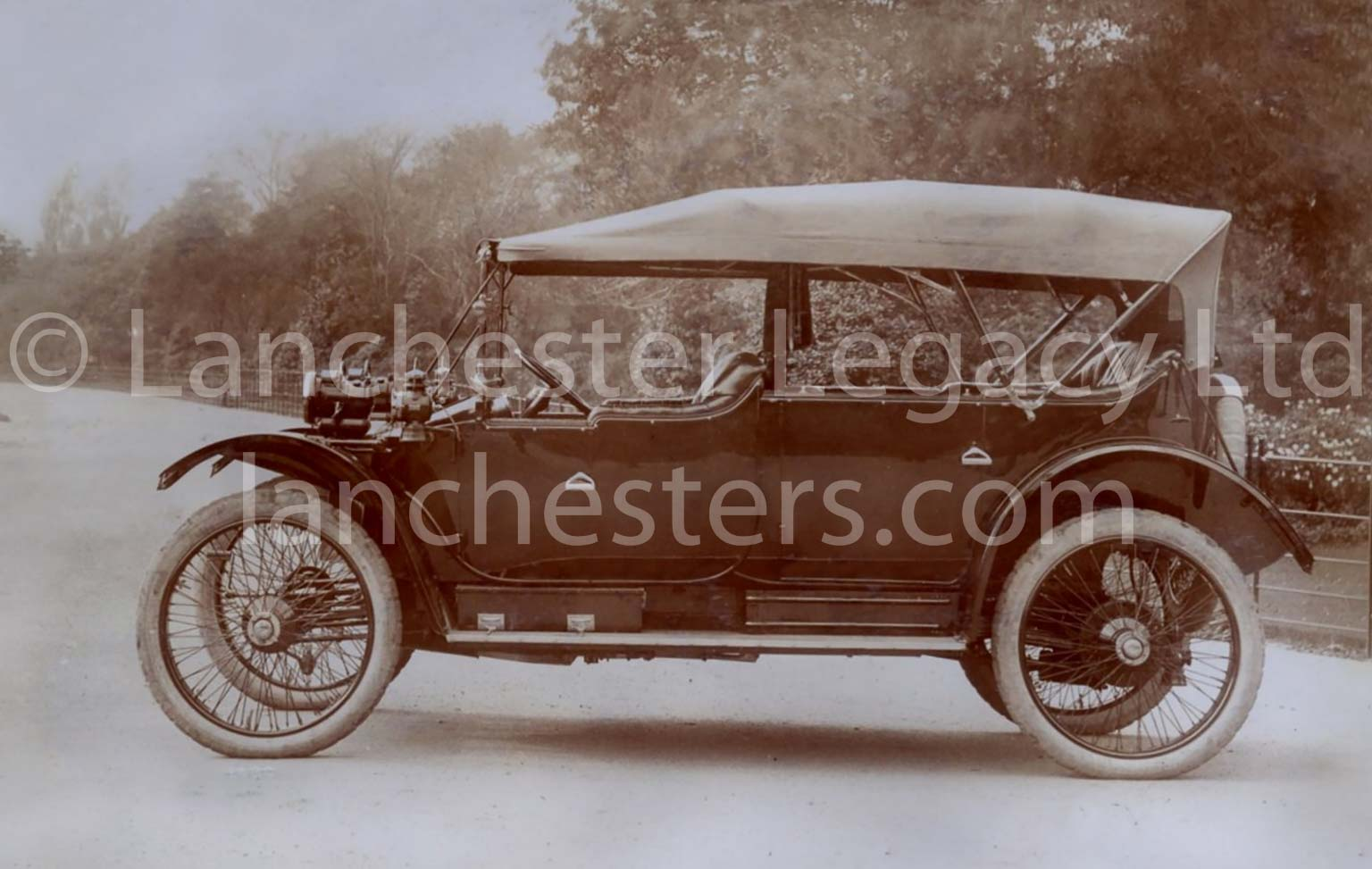 Lanchester 25hp 5-seat Phaeton with Cape Cart hood in Small Heath Park, Birmingham