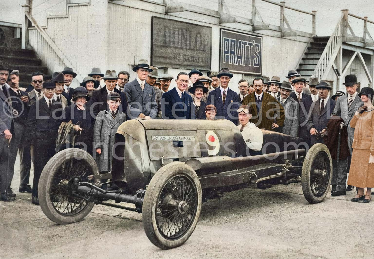 Tommy Hann's Lanchester 25hp Racing Car 'Softly Softly' at Brooklands