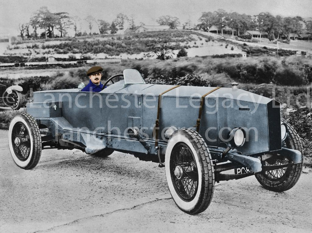 Lanchester 40hp Rapson Racer at Brooklands