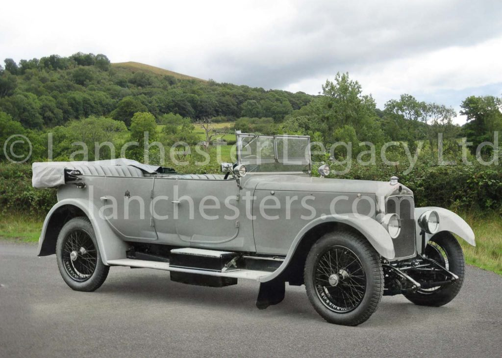 Lanchester 40hp Royal Tourer in countryside